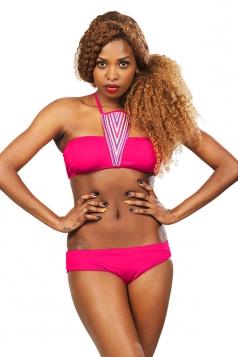 Womens Sexy Halter Bandeau Bikini Top&Swimsuit Bottom Rose Red