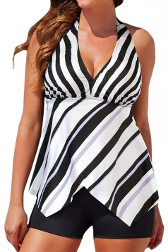 Womens Sexy Striped Irregular Hem Tankini Top&Swimsuit Bottom White