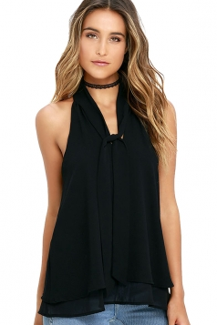 Womens Tie-neck Sleeveless Chiffon Halter Top Black