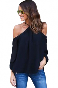 Womens Sexy Halter Off Shoulder Long Sleeve Blouse Black