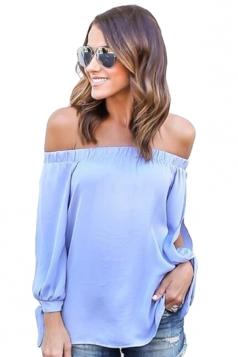 Womens Sexy Off Shoulder Long Open Sleeve Blouse Light Blue