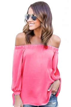 Womens Sexy Off Shoulder Long Open Sleeve Blouse Pink