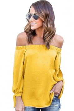 Womens Sexy Off Shoulder Long Open Sleeve Blouse Yellow