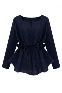 Womens Plain Plus Size Ruffle Waist Long Sleeve Blouse Navy Blue