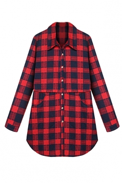 Womens Plus Size Plaid Single-breasted Pockets Blouse Red