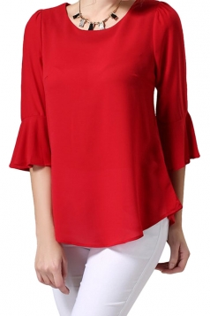 Womens Plain Ruffle Bell Sleeve Zipper Back Blouse Red