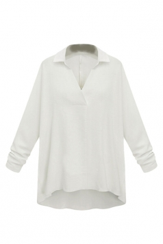 Womens Plain Turndown Collar High Low Long Sleeve Blouse White