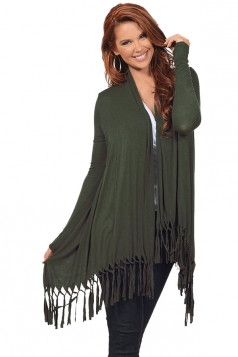 Womens Plain Tassel Irregular Long Sleeve Cardigan Army Green