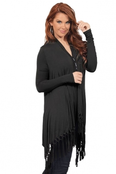 Womens Plain Tassel Irregular Long Sleeve Cardigan Black