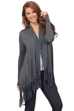Womens Plain Tassel Irregular Long Sleeve Cardigan Dark Gray