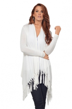 Womens Plain Tassel Irregular Long Sleeve Cardigan White