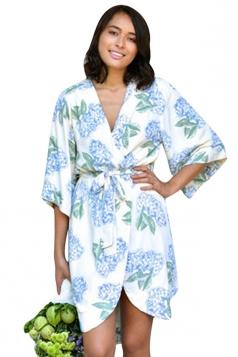 Womens Casual Wrapped V Neck Floral Midi Kimono Blue