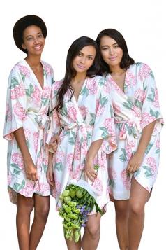 Womens Casual Wrapped V Neck Floral Midi Kimono Rose Red