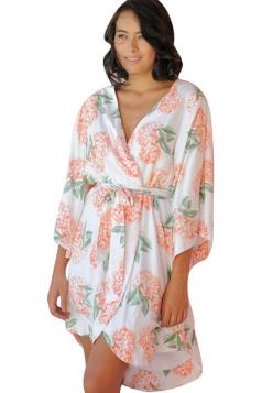 Womens Casual Wrapped V Neck Floral Midi Kimono Tangerine