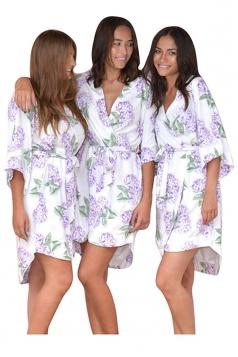 Womens Casual Wrapped V Neck Floral Midi Kimono Purple