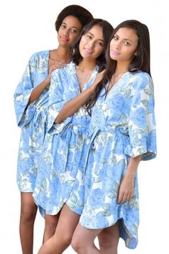 Womens Wrapped V Neck Half Sleeve Floral Printed Kimono Blue