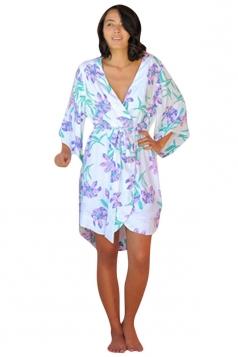 Womens Wrapped V Neck Half Sleeve Floral Printed Kimono Light Purple