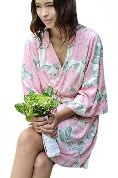 Womens Wrapped V Neck Half Sleeve Floral Printed Kimono Rose Red