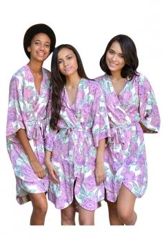 Womens Wrapped V Neck Half Sleeve Floral Printed Kimono Purple