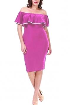 Womens Off Shoulder Ruffle Bodycon Midi Dress Purple