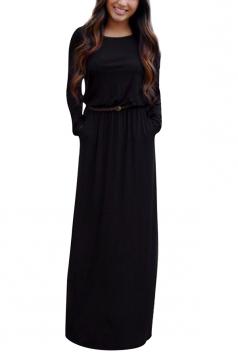 Womens Crewneck Long Sleeve Pockets Plain Maxi Dress Black