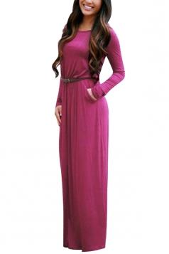 Womens Crewneck Long Sleeve Pockets Plain Maxi Dress Purple