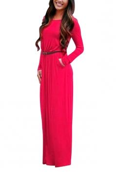 Womens Crewneck Long Sleeve Pockets Plain Maxi Dress Watermelon Red