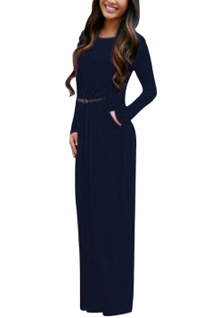 Womens Crewneck Long Sleeve Pockets Plain Maxi Dress Navy Blue