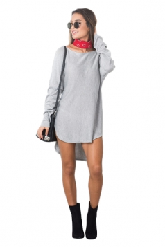 Womens Plain Long Sleeve High Low Mini Shirt Dress Gray