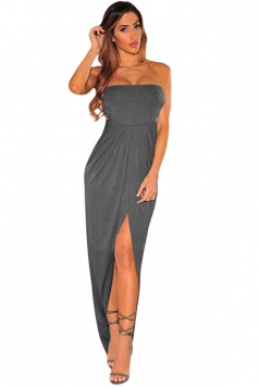 Womens Draped Hollow-out Slit Front Tube Maxi Dress Dark Green