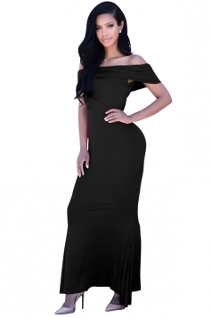 Womens Off Shoulder Plain Floor Length Maxi Dress Black