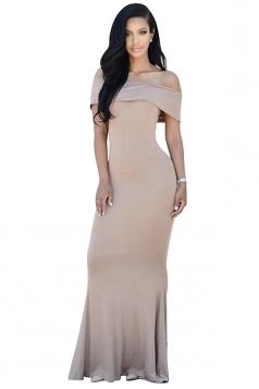 Womens Off Shoulder Plain Floor Length Maxi Dress Khaki