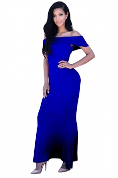 Womens Off Shoulder Plain Floor Length Maxi Dress Sapphire Blue