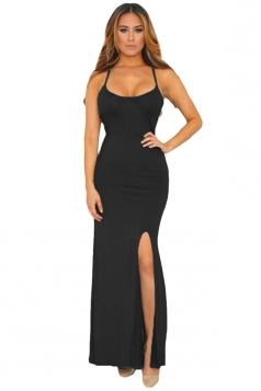 Womens Spaghetti Straps Elastic Cutout Back Side Slit Maxi Dress Black