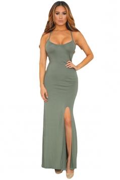 Womens Spaghetti Straps Elastic Cutout Back Side Slit Maxi Dress Green