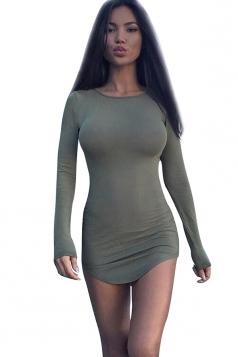 Womens Plain Long Sleeve Mini Clubwear Dress Army Green