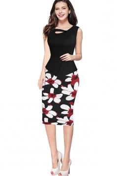 Womens False 2-piece Floral Sleeveless Peplum Midi Dress Black