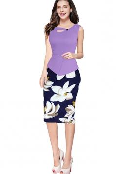 Womens False 2-piece Floral Sleeveless Peplum Midi Dress Light Purple
