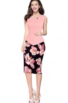 Womens False 2-piece Floral Sleeveless Peplum Midi Dress Pink