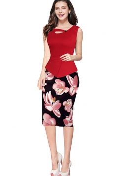 Womens False 2-piece Floral Sleeveless Peplum Midi Dress Red