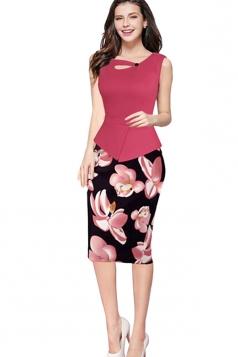 Womens False 2-piece Floral Sleeveless Peplum Dress Watermelon Red