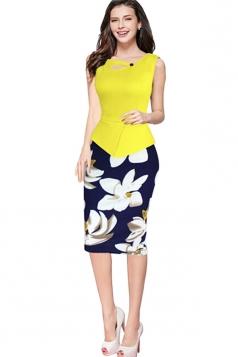 Womens False 2-piece Floral Sleeveless Peplum Midi Dress Yellow