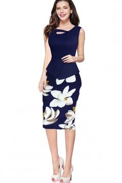 Womens False 2-piece Floral Sleeveless Peplum Midi Dress Navy Blue