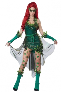 Womens Poison Lvy Halloween Costume Dress Green