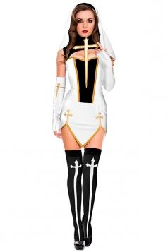 Womens Irregular Sleeveless Nun Halloween Costume Dress White