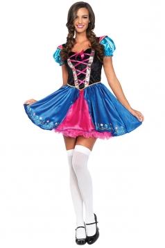 Womens Color Block Beer Girl Maid Halloween Costume Dress Blue