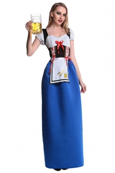 Womens Beer Girl Maid Halloween Maxi Costume Dress Blue