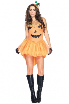 Womens Pumpkin Halloween Costume Mini Dress Orange