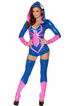 Womens Long Sleeve Hooded Spiderman Halloween Bodysuit Costume Blue