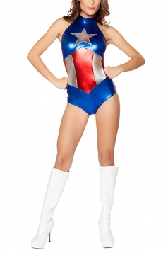 Womens America Captain Halloween Costume Blue